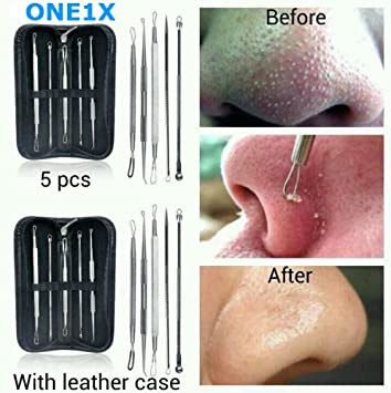 5pcs Stainless Blackhead Whitehead Pimple Acne Blemish Comedone Extractor  Remover Face Care Tool Set Kit + Free case by ONE1X