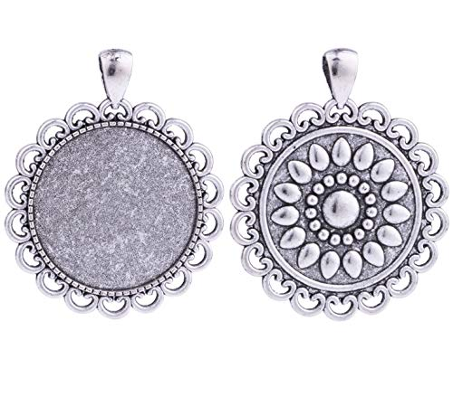 (10pcs 30mm Round Flower Antique Silver Trays Bezels Cameo Setting Cabochon Pendant Charms for Crafting DIY Neckalce Jewelry Making)