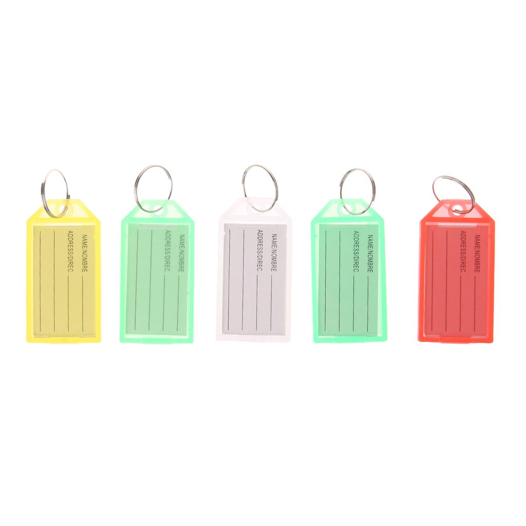 Vegan 5 Pcs ID Label Luggage Name, With Ring Keychain
