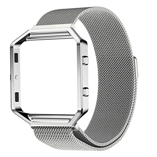 Perman Milanese Magnetic Stainless Steel Solid Watch Band + Metal Frame for Fitbit Blaze - Frame Silver Solid