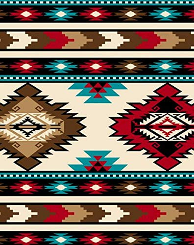 Southwest Stripe Red Aztec Fleece Fabric - 60