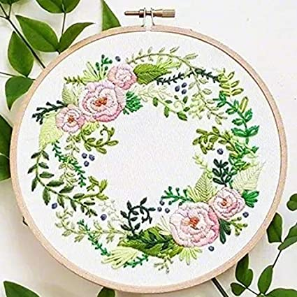 Cow Head, 6 Inches in Diameter Plastic Hoop,Color Floss,Tools Kit Cross Stitch Kits for Beginners Including Patterned Embroidery Cloth Khalee Full Set of Hand-Made Embroidery Starter Kit