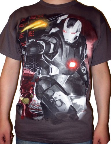 Marvel Men's Iron Man 3 Movie Machine Wars T-Shirt, Charcoal, X-Large