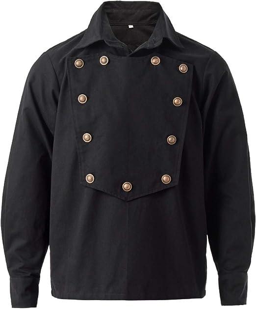 GRACEART Victoriano Gótico Hombre Camisa Western Steampunk para Hombres Manga Larga Shirt (L, Negro): Amazon.es: Productos para mascotas