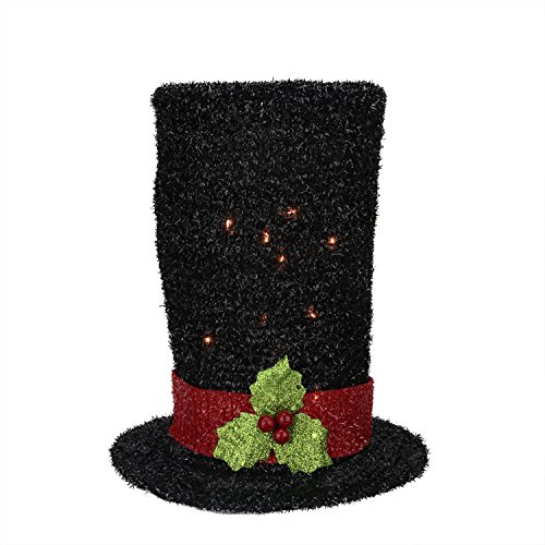 Northlight Lighted Black Tinsel Snowman Top Hat Christmas Tree Topper with Clear Lights, 9