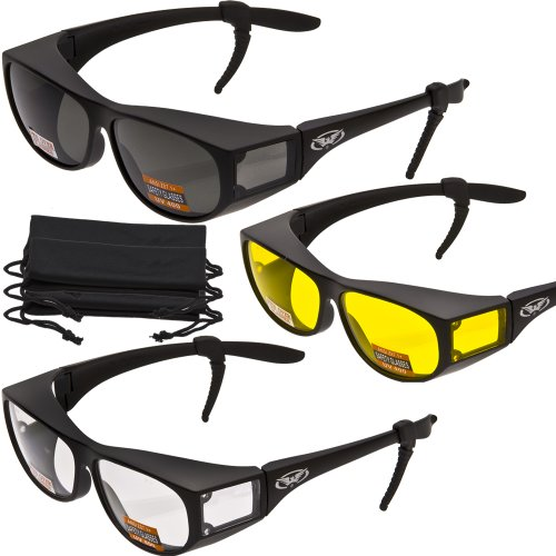 3 PAIRS- Escort Advanced System Safety Glasses Fits Over Most Prescription Eyewear - FREE Rubber EAR LOCKS and Microfiber Pouch! -Gloss Black Frame (Prescription Work Glasses)