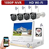 ONWOTE All-in-One 1080P HD NVR Wireless WiFi Security Camera System with 10.1'' LCD Monitor, 1TB Hard Drive, 4 Outdoor Night Vision Video Surveillance Cameras (Plug n Play, Built-in Router, Auto-Pair)