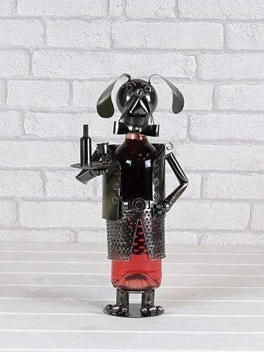 Flame Homewareメタルワインボトルホルダー – ダニー犬Waiter 19091 (ハンドメイドからリサイクルメタル) by Flame Homeware B01N91KEIF