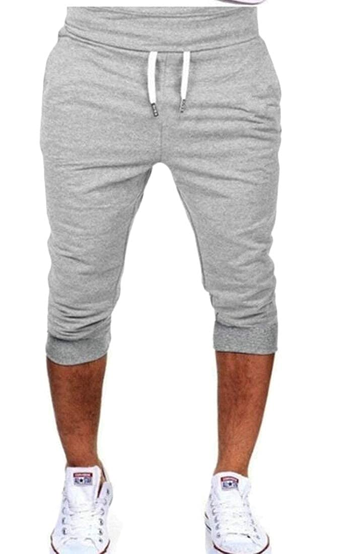 CRYYU Men Plain Capri Gym Slim Fit Jogger Pants Drawstring Shorts Sweatpants