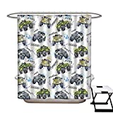 Stevenhome Cars Anti Bacterial Shower Curtain Liner Hand Drawn Watercolored Monster Trucks Enormous Wheels Off Road Lifestyle Non Toxic,Rust Proof Grommets Holes Yellow Lavander Blue