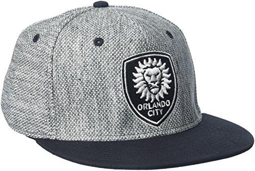 - adidas MLS Orlando City SC Men's Heathered Gray Fabric Flat Visor Flex Hat, Large/X-Large, Gray