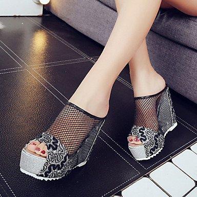 LvYuan Mujer-Tacón Cuña-Confort-Zapatillas y flip-flop-Oficina y Trabajo Vestido Informal-PU-Negro Oro Plata Black