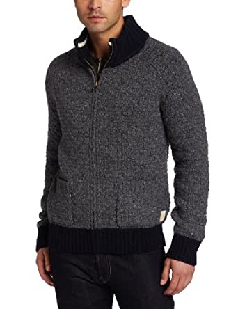 Scotch & Soda Men's Heavy Knitted Zip Cardigan, Gray/Black, XX-Large