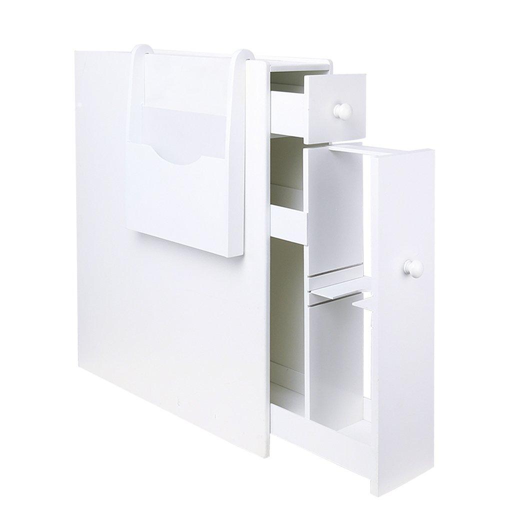 Bathroom Floor Storage Cabinet Drawer Slim Bathroom Cabinet Free Standing Tight Space Bathroom Organizer with Magazine Holder Home Kitchen Storage Cabinet White(US Stock)