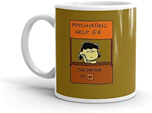 Lucy Van Pelt: The Doctor Is In. 11 Oz Fine Ceramic Mug With Flawless Glaze Finish. 11 Oz Classic Coffee Mugs, C-handle And Ceramic Construction