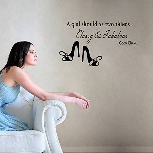 A Girl Should Be Two Thing Classy & Fabulous Wall Art Vinyl Decals Stickers Quotes and Sayings Home Art Decor Decal