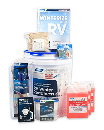 (Camco 36190 RV Winter Readiness Kit - Includes Antifreeze Concentrate and Hand Pump, Blow Out Plug, Dehumidifier and More - Comes with Bonus Winterizing Guide)