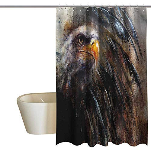 RenteriaDecor Shower Curtains for Kids Bathroom Girls Eagle,Angry Bird Black Feathers,W72 x L84,Shower Curtain for clawfoot tub ()