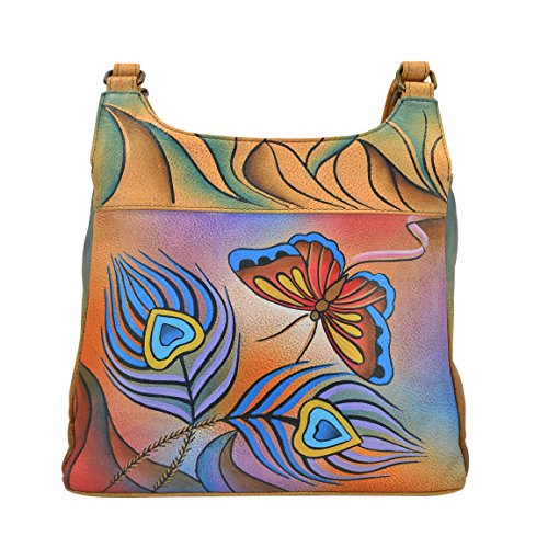 (Anna by Anuschka Satchel Handbag | Genuine Leather | Peacock Butterfly)