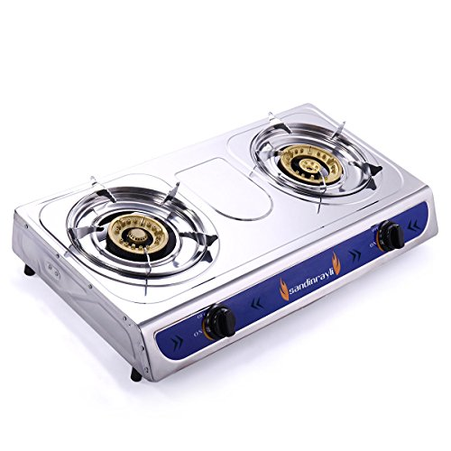 Mandycng Heavy Duty LPG Gas Stove Emergency Portable Propane Gas Stove DUAL Double Burner Gas Cooker Camping with Hose, Regulator