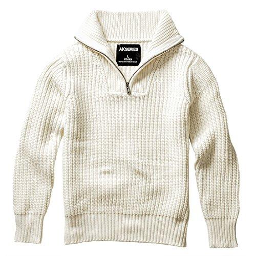 AKseries Men Sweater Turndown Collar Half Placket Pullover Cotton Viscose Nylon Blended Turtleneck Sweater for Men by AKseries