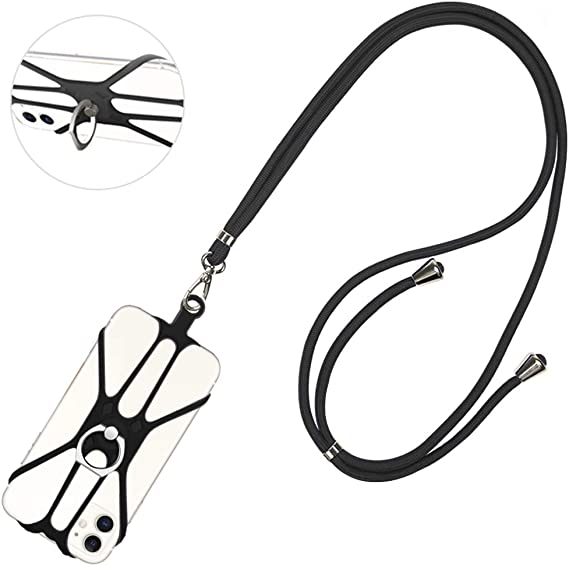 Black Phone Lanyard Galaxy /& Most Smartphones COCASES Adjustable Lanyard for Keys Detachable Phone Neck Strap Silicone Holder with Ring Stand for iPhone