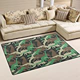 WellLee Area Rug,Camouflage Army Dinosaur Floor Rug Non-slip Doormat for Living Dining Dorm Room Bedroom Decor 60x39 Inch