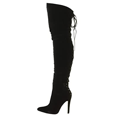 Tilly London Womens Ladies Thigh Boots Over The Knee High Heel Lace Up Sexy Stretch Boots