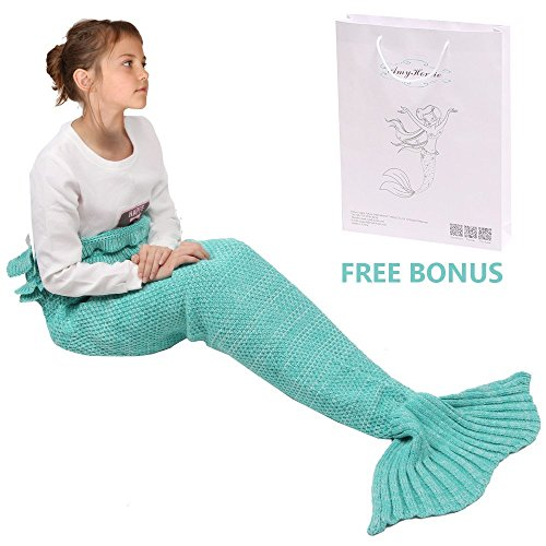 [Amyhomie Childs and Kids Mermaid Tail Crochet Blanket, All Season Sleeping Bag includes customized gift bag , Multiple choices -] (Ursula Costume Little Mermaid Jr)