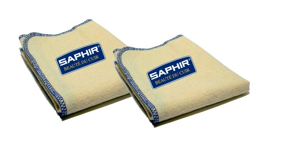 Saphir Shoe Polish Cloths - Set of Two - 100% Cotton - for Polishing and Shining Footwear