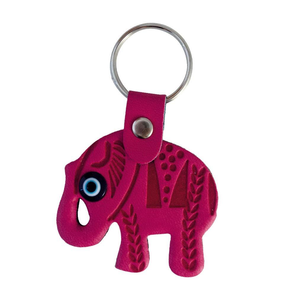 Amazon.com: Elefante mal de ojo Llavero Llavero piel ...