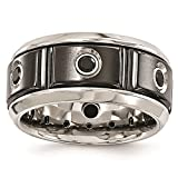 Titanium Black Ti & Stainless Steel Black Spinel w/Silver Bezel Wedding Band Size 10.5 by Edward Mirell