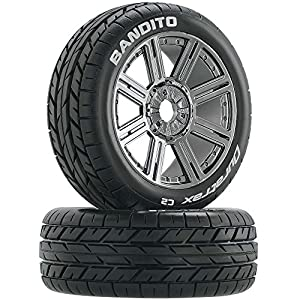 Duratrax Bandito 1:8 Scale RC Buggy Tires with Foam Inserts, C2 Soft Compound, Mounted on Black Chrome Wheels (Set of 2)