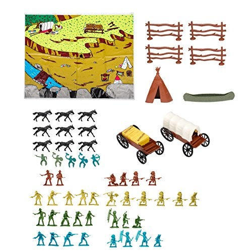 62 Pc Western Adventures Wild West Toy Figurine Set with Play Mat