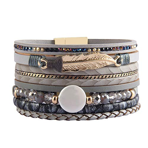 AZORA Leather Cuff Bracelet Multi Rope Wrap Bangle with Pearl Metallic Heart Cuffs Bracelets for Women Teen Girl Gift ()