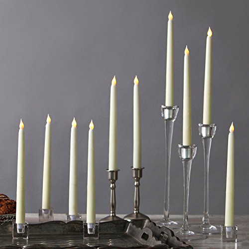 10 Ivory 10' Flameless Taper Candles, Smooth Wax Finish, Warm White LEDs, Vigil Collection, Batteries Included