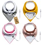 iZiv 4 PACK Baby Bandana Drool Bibs with Adjustable Snaps Pacifier Clip, Waterproof TPU Lining 0-2 Years (Color-5)