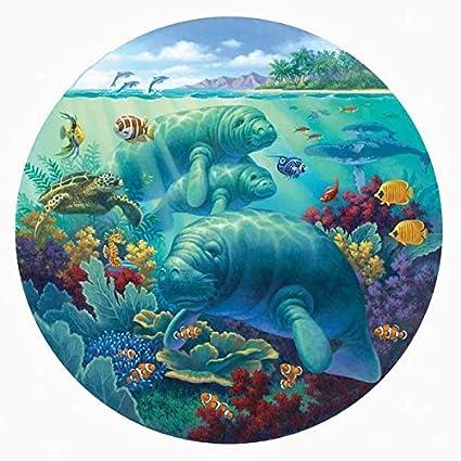 amazon com manatee beach 500 pc round jigsaw puzzle toys games