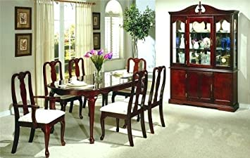 Amazon Com 7pc Dining Table Set Queen Anne Style Cherry Finish Table Chair Sets