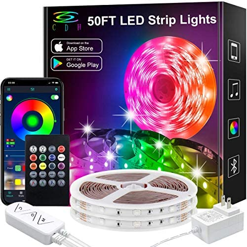 LED Strip Lights,50Ft Color Changing LED Strip Lights Music Sync,Bluetooth App Controlled Remote,5050 RGB LED Rope Lights 16Million colour,Sensitive Built-in Mic,LED Lights for Bedroom Kitchen TV Party