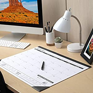 AT-A-GLANCE Desk Calendar 2020, Office Desk Pad Organizer, Desktop Agenda, Weekly Planner, Compact Note Pad for Home Office Supplies and Desk Decor, 21-3/4″ x 17″, Standard, Ruled Blocks (SK2400)