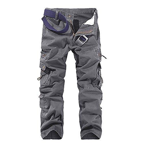 Cargo Gris Pantalon Homme Military Casual Multi Poches Oeak Vintage qEUxx8