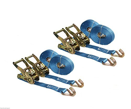 4 x 5m x 25mm Ratchets Tie Down Straps 1.5 tons Lorry Lashing HandyStraps