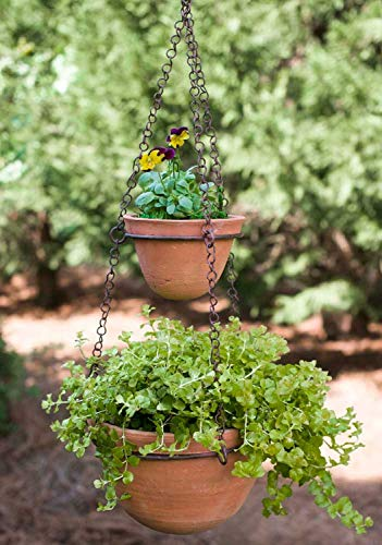 (Two Tier Hanging Terra Cotta Pots )