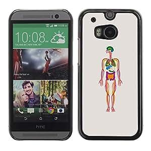 FECELL CITY // Duro Aluminio Pegatina PC Caso decorativo Funda Carcasa de Protección para HTC One M8 // Human Skeleton Biology