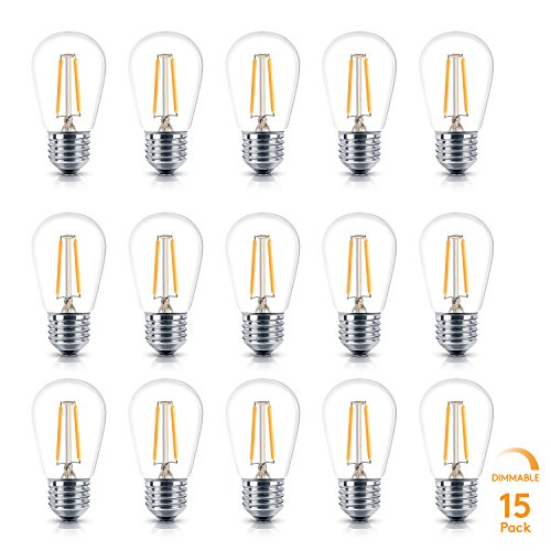 Brightech Ambience Pro LED S14 2 Watt Dimmable Bulb - Equal to 20-25W Incandescent Bulbs - Outdoor String Lights – Edison-Inspired Exposed Filaments Design- 15 Pack - E26 Base - Uses Clear Standard Base Bulb