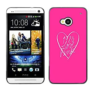Planetar® ( Pink Look Heart Clean Text Minimalist ) HTC One M7 Fundas Cover Cubre Hard Case Cover