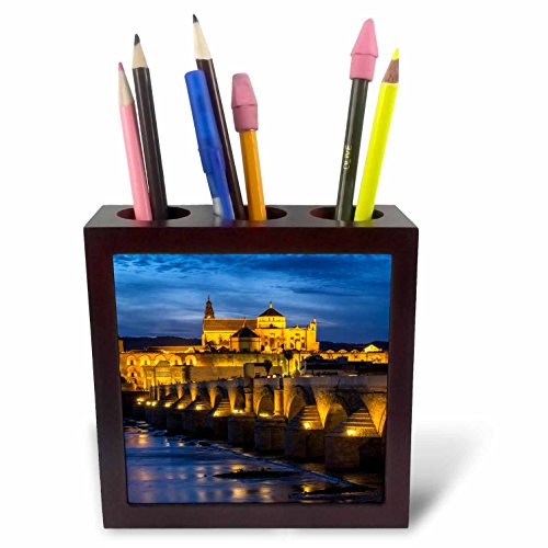 3dRose Danita Delimont - Bridges - Spain, Andalusia. Cordoba. Roman bridge across the Guadalquivir river. - 5 inch tile pen holder (ph_277894_1) by 3dRose