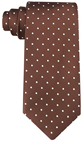Scott Allan Mens Polka Dot Necktie - Brown & White Dotted Necktie