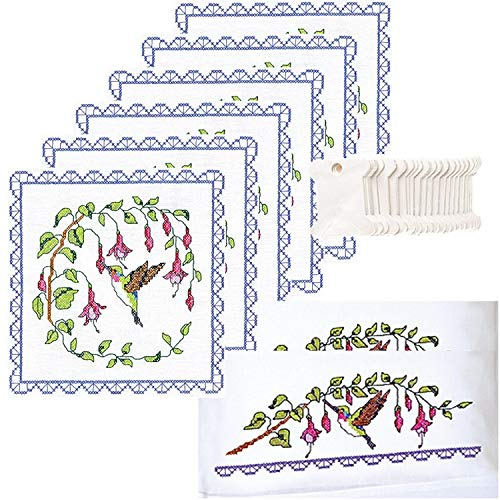 Janlynn Hummingbird Stamped Embroidery Bundle - 3 Items: Quilt Blocks, Pillowcases, Floss Bobbins